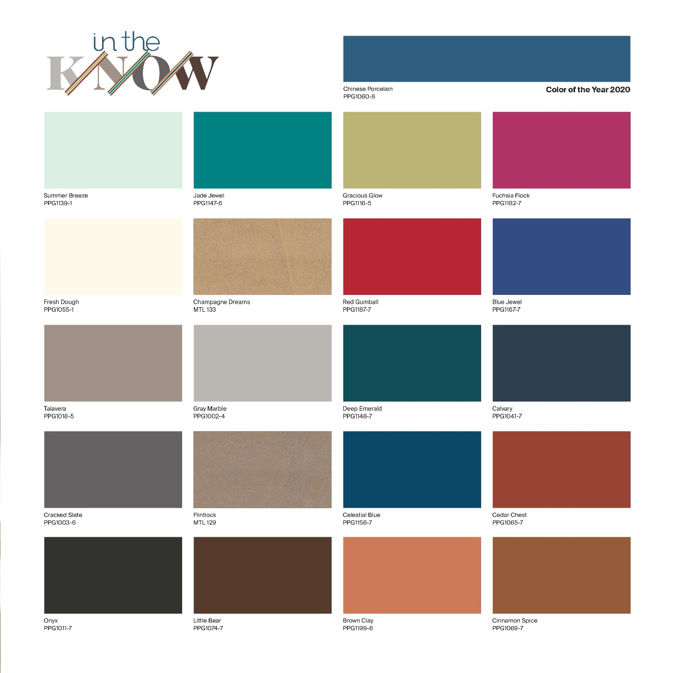 PPG color of the year - global color palette 2020 In the Know