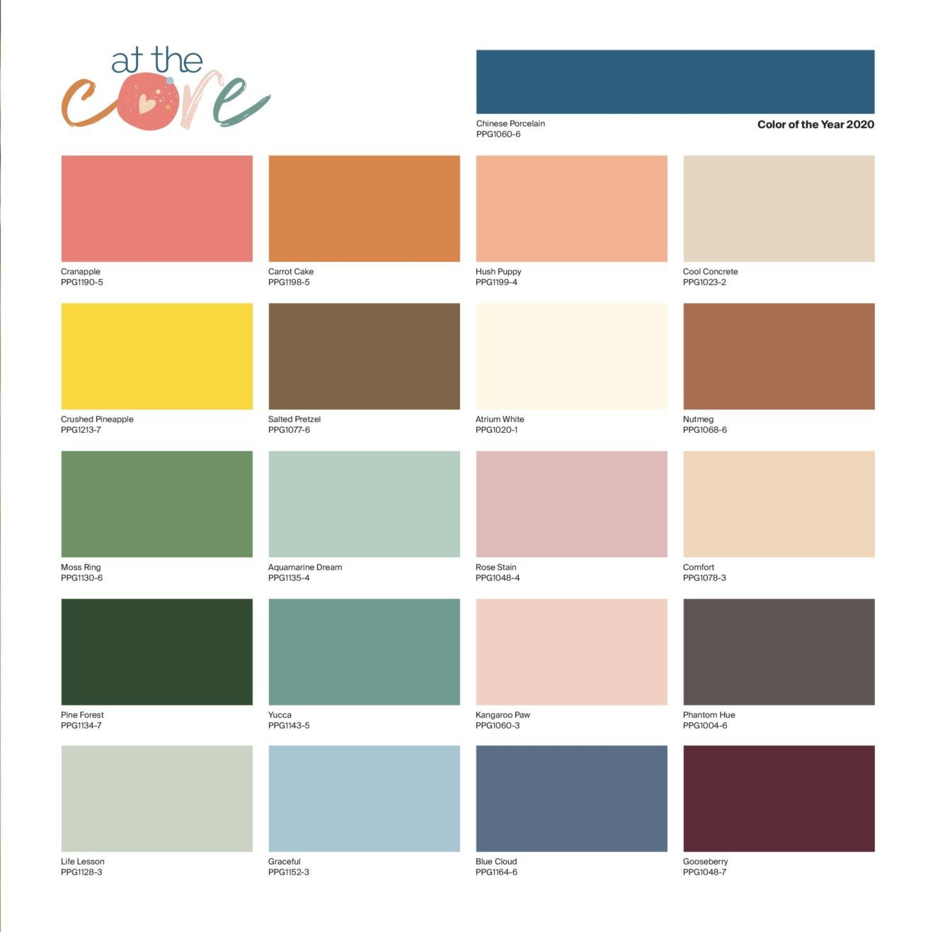 PPG color of the year 2020 - global color palette