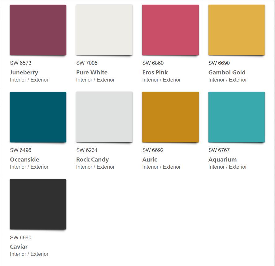 HPlay 2020 Color Palette color chips