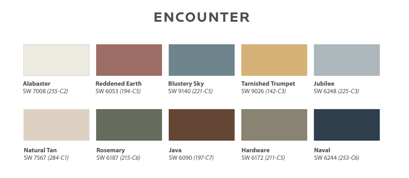Sherwin-Williams 2021 Colormix Forecast Encounter Palette